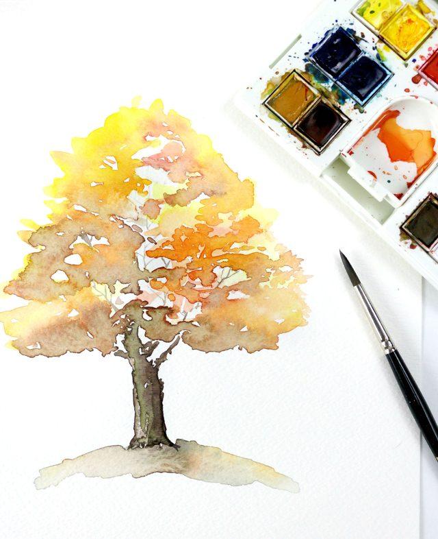 Рисуем осеннее дерево акварелью своими руками