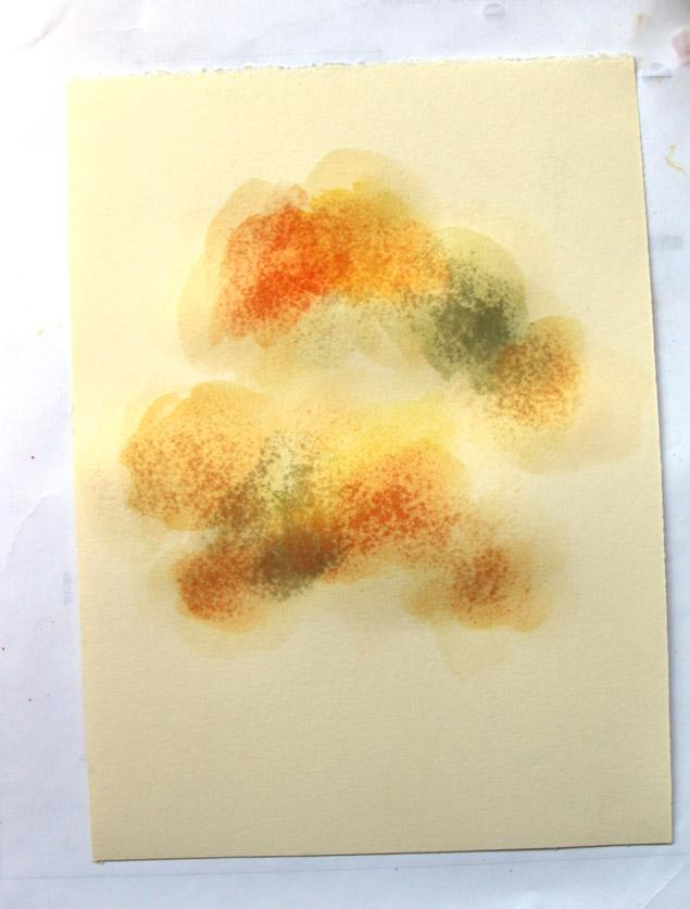 Здесь для придания глубины оттенкам листвы в кроне использованы следующие цвета: немного желтого, оранжевого и оливково-зеленого