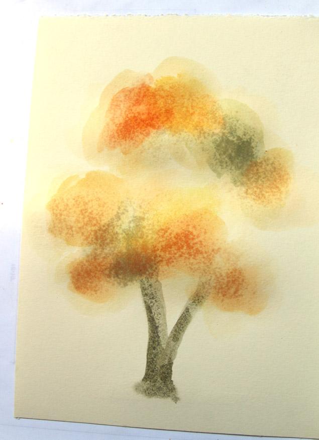 Ствол дерева и малые ветки в кроне начинаем, как и в п. 1, рисовать очень сильно разбавленным цветом