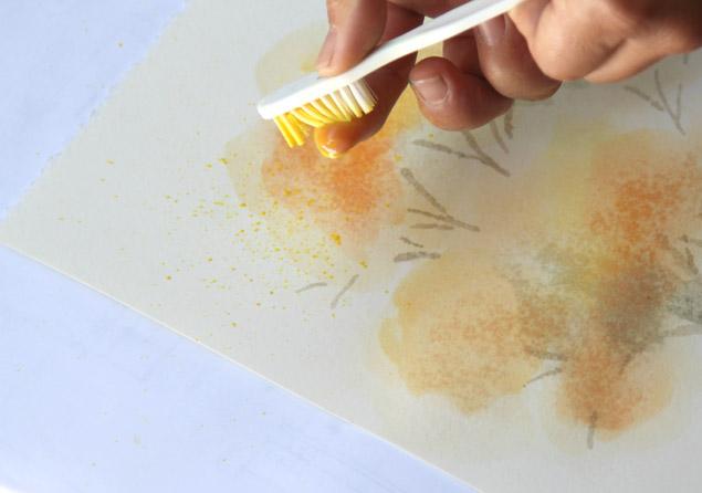 Потом пальцами пробегаем по щетке над рисунком и получаем брызги в той зоне изображения, в которой требуется