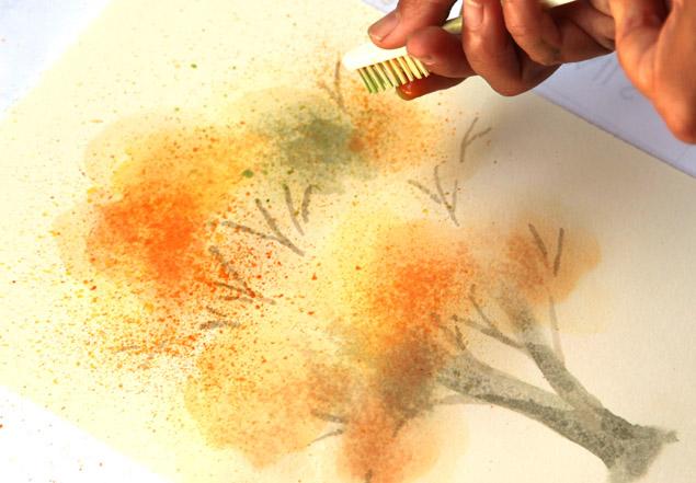 Зубной щеткой вы получи эффект листопада и легкой цветной дымки вокруг дерева