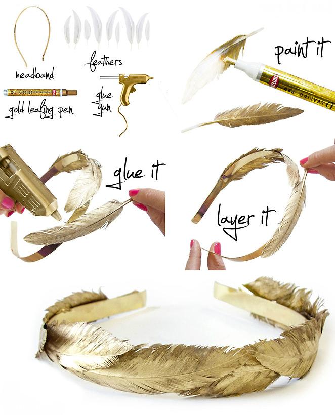 Золотые перья для сказочной феи - ободки в стиле люкс своими руками