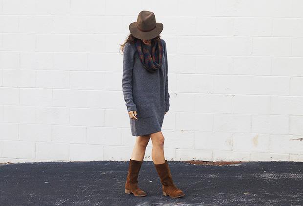 мода осень 2014: сапоги до икр и вязаное платье до середины бедра