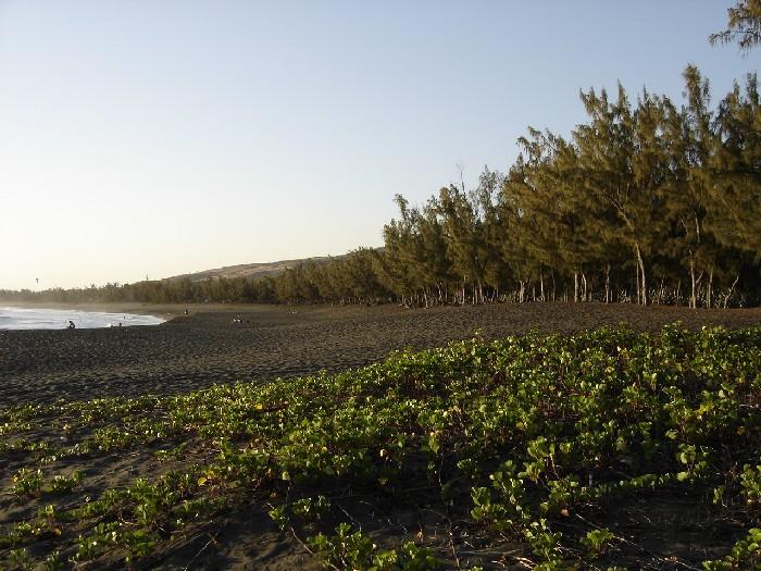 Береговая линия Реюньона: черный песок