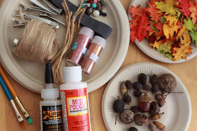 Как делать сезонные ободки, заколки и броши из красочных осенних «листьев» - исходные материалы