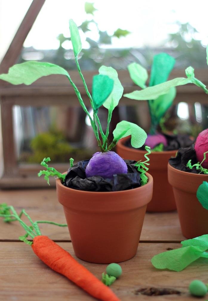 Как сделать натуралистичные овощи из крепированной бумаги своими руками