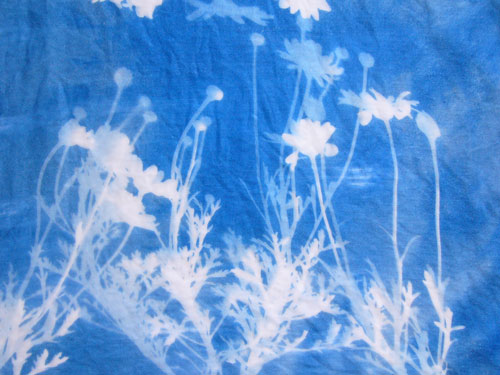 отпечаток букета полевых цветов на ткани при помощи Inkodye