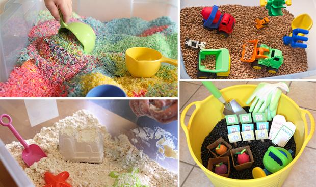 чем занять детей на зимних каникулах: детская домашняя песочница из муки или крупы