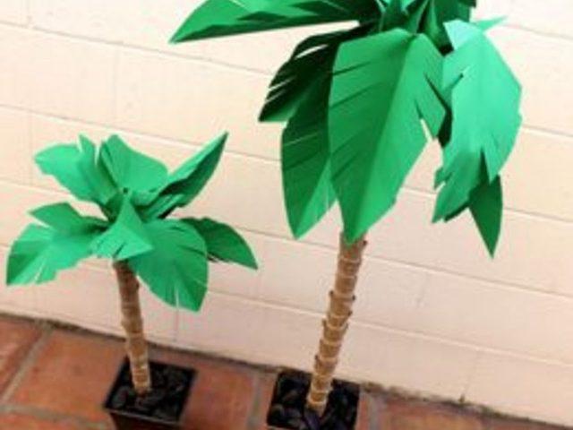 Как сделать натуралистичную высокую и объемную пальму из бумаги