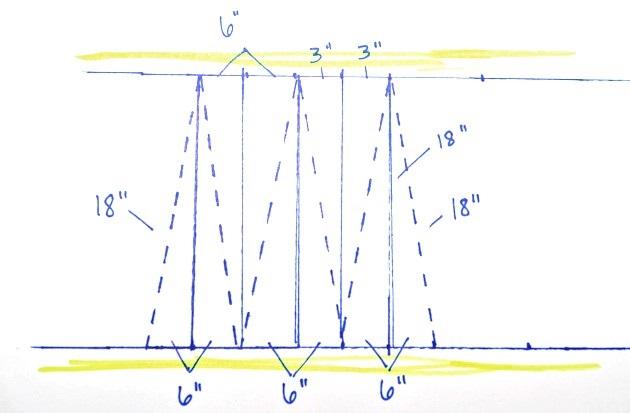 Здесь сначала сделайте четкую разметку, а потом по линейке, соединяя точки, нарисуйте высокие треугольники – будущие «лепестки» для юбки