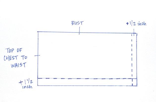 прямоугольник для корсета платья из скотча и простыни