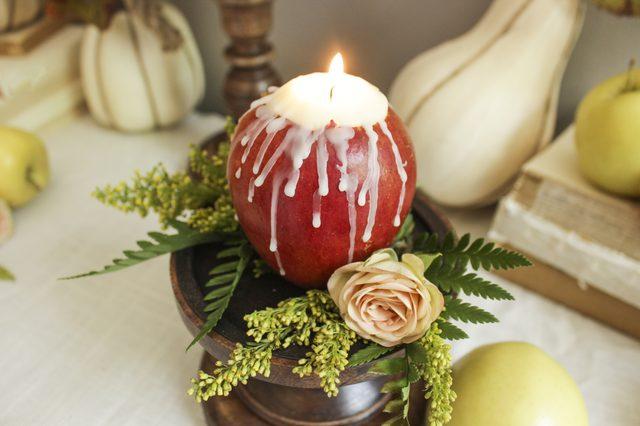 Как делать натуральные ароматизированные подсвечники из яблок