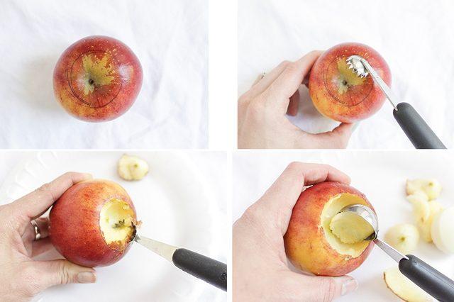 Вырезаем по наметке «кратер» в яблоке сверху, срезая и следы от ручки/фломастера и проч.