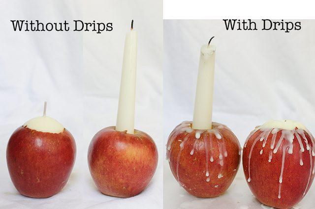 Капли воска создают интересный контраст цвета с кожей яблок, а также добавляют текстуры, что придает подсвечникам более простой и уютный, рустикальный вид