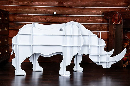 Артем Коренец, техника создания различных объемных предметов из плоских деталей: полка-носорог