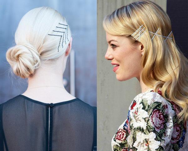 Помогут прикрыть/отвлечь внимание от немытых волос и модные декоративные узоры из невидимок по бокам