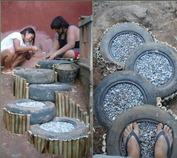 Из шин делают лестницы, врывая в склон и засыпая внутрь щебень, а по бокам ставя подпорки из бамбука или дерева