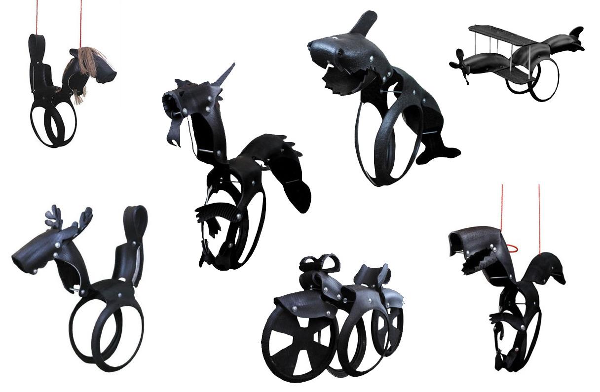 качели-шедевры из шин в виде зверей и техники: много различных моделей