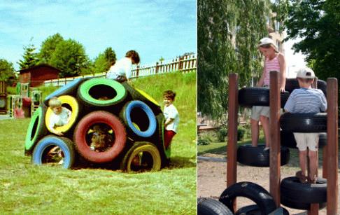Как креативно использовать старые покрышки и камеры: детские площадки - 1