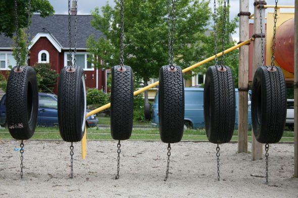 Тоннели из автомобильных покрышек/шин для детских площадок - навесной на цепях