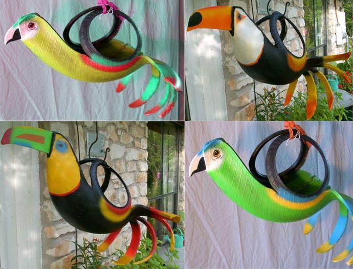 кашпо для цветов в виде экзотических птиц из автомобильных шин