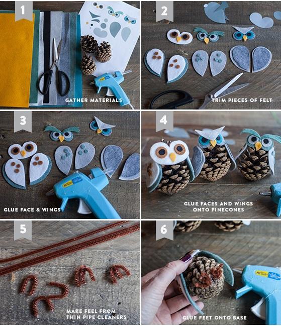 Как из шишек делать фигурки и елочные игрушки - совы из фетра, раные варианты - подробная пошаговая инструкция в картинках