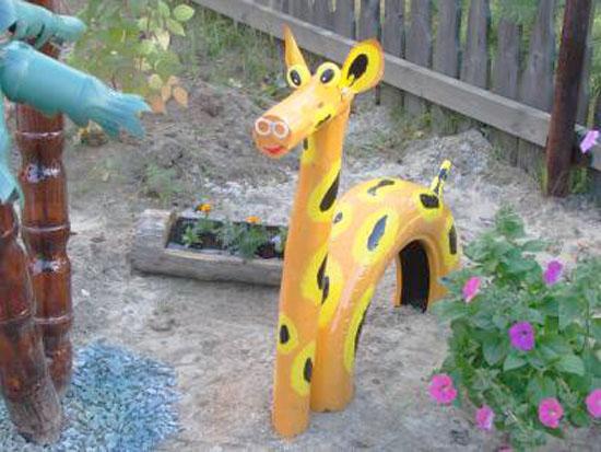 жираф из автомобильных шин - для дачных участков и детских площадок