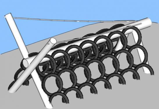 Объемные конструкции для лазанья из камер от автомобильных шин для детской площадки