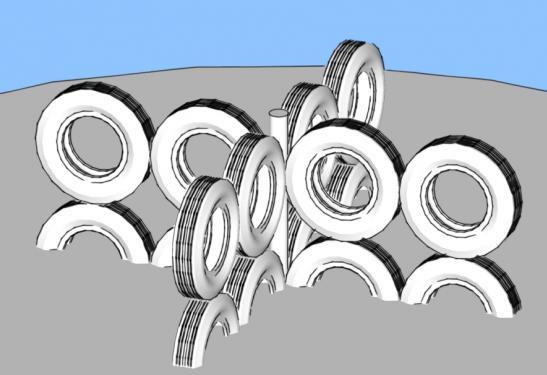 Объемные конструкции для лазанья из покрышек от автомобильных шин для детской площадки