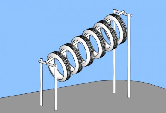 Тоннели из автомобильных покрышек/шин для детских площадок - наклонный тоннель на цепях