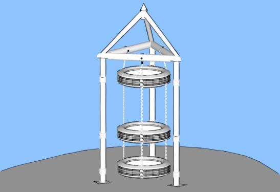 Башня из автомобильных шин/покрышек - подвесная, линейная
