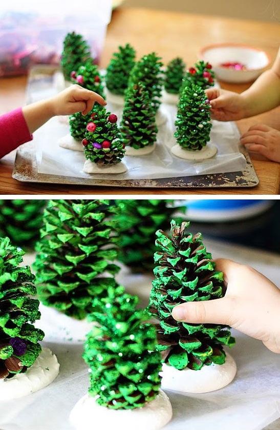 Как из шишек делать фигурки и елочные игрушки - новогодние елочки