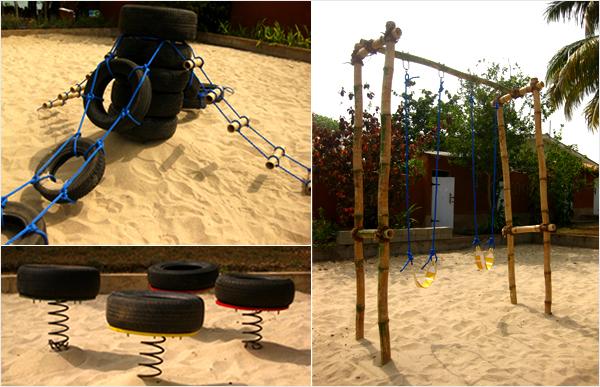 навесная дорожка из покрышек от шин для детской площадки