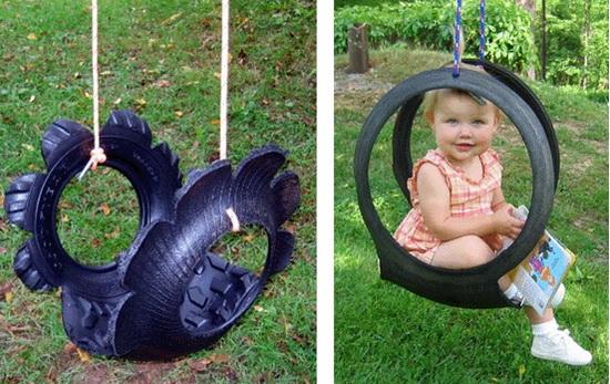 Качели для малышей от 5-ти лет - из автомобильных шин/покрышек