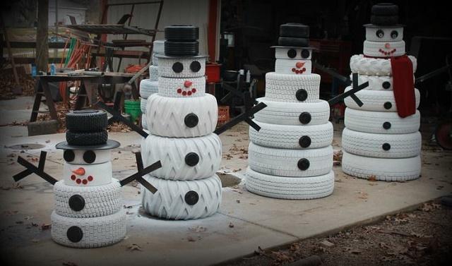 снеговики из автомобильных шин - для дачных участков и детских площадок