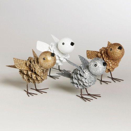 Как из шишек делать фигурки и елочные игрушки - птички