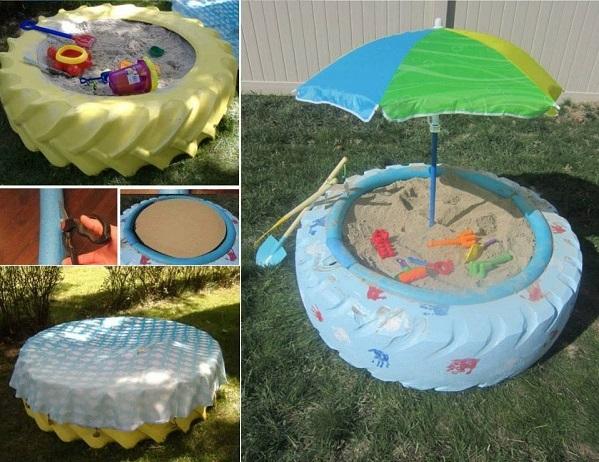 Детские песочницы из шин - для дачи
