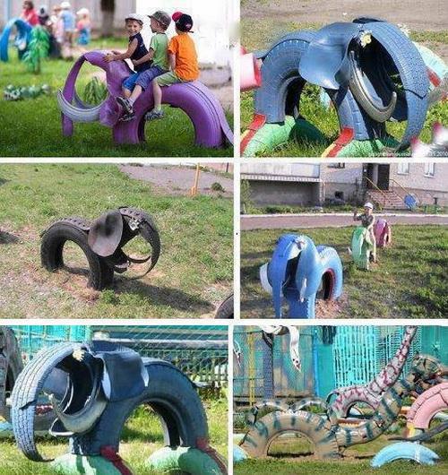 слоники, черепахи и жирафы из автомобильных шин - для дачных участков и детских площадок