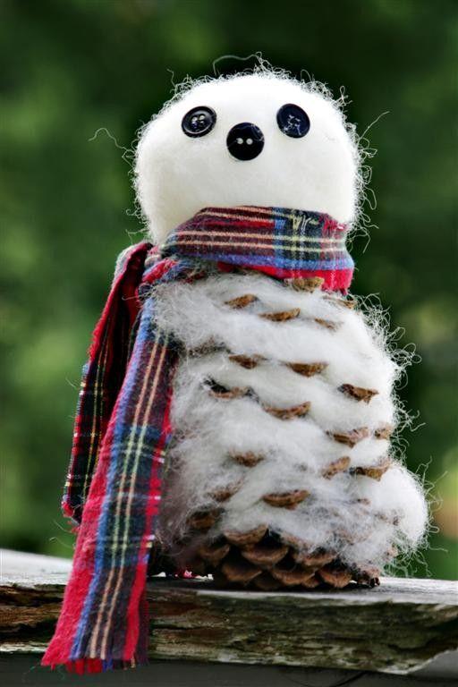 Как из шишек делать фигурки и елочные игрушки - снеговики