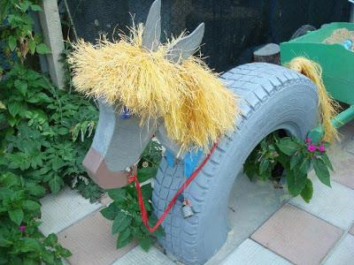 ослик или пони из автомобильных шин - для дачных участков и детских площадок