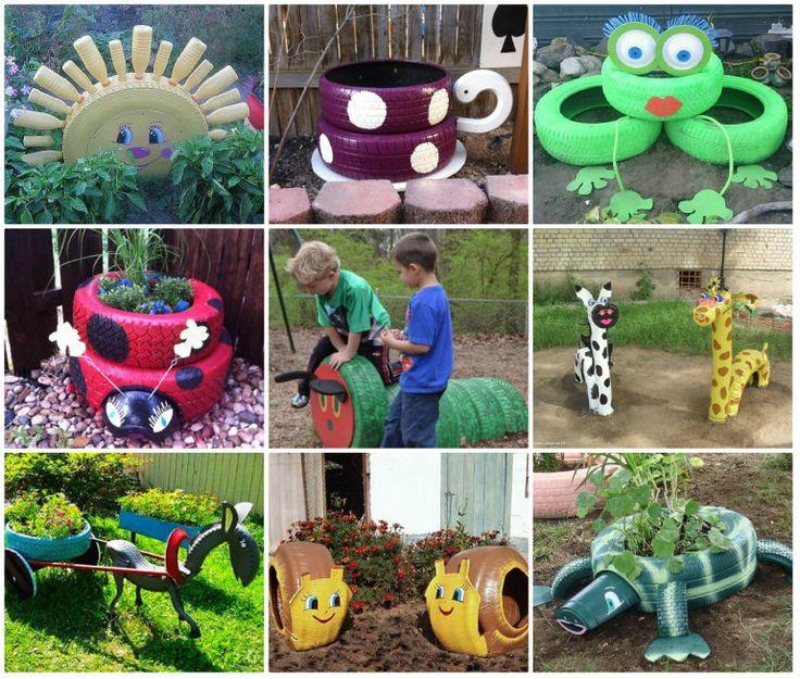всевозможные яркие звери и фигуры из автомобильных шин - для дачных участков и детских площадок