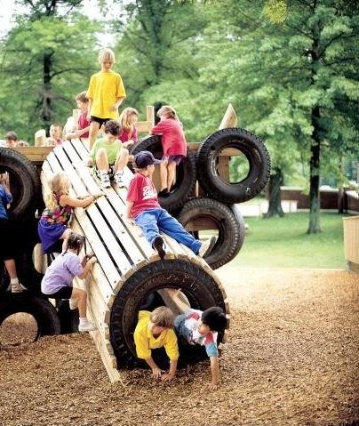 Тоннели из автомобильных покрышек/шин для детских площадок - с деревянными досками