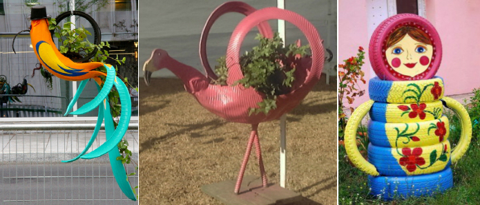 матрешка из шин, фламинго из шин