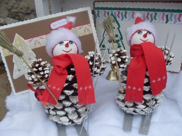 Как из шишек делать фигурки и елочные игрушки - Лыжницы и лыжники. Несколько вариантов.