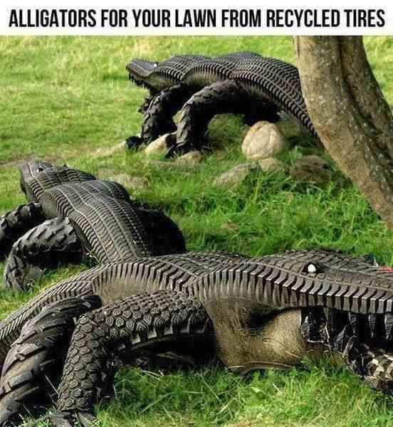 крокодилы из кусков автомобильных шин - для дачных участков и детских площадок