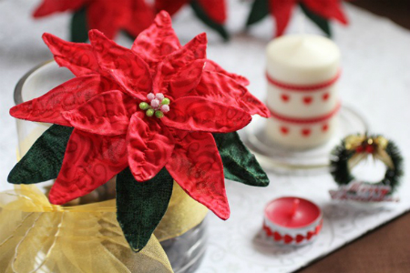 Как сделать натуралистичную праздничную пуансеттию из ткани