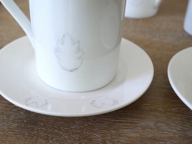 Аккуратно снимаем все шаблоны, видим бледные контуры картинок на поверхностях посуды