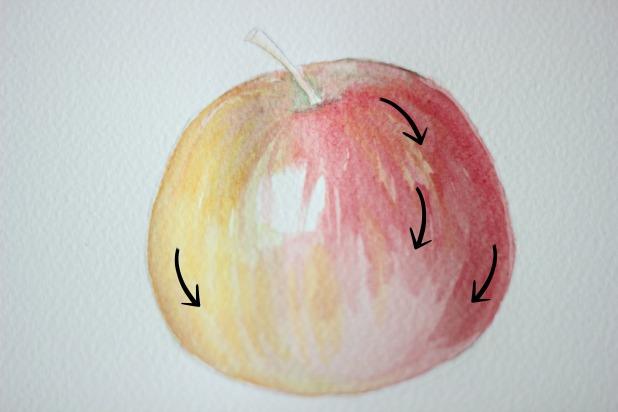 ваши движения кистью повторяли начальный контур яблока - наносим красный