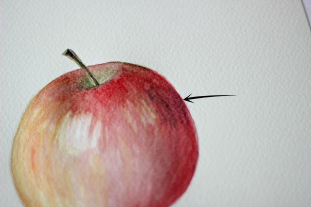 добавьте немного легкой тени на бок яблока