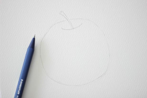 бледный набросок формы яблока карандашом